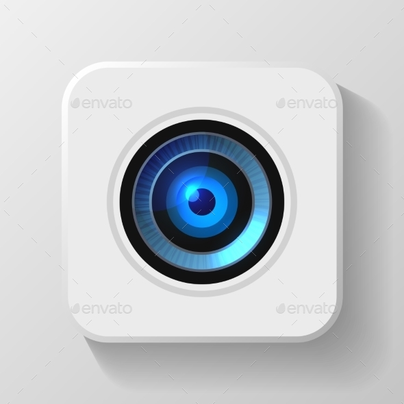 GraphicRiver Blue Camera Lens Icon on White Vector 9103851