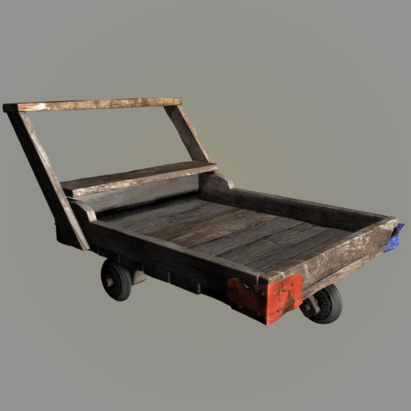 3DOcean wood pushcart 9028303