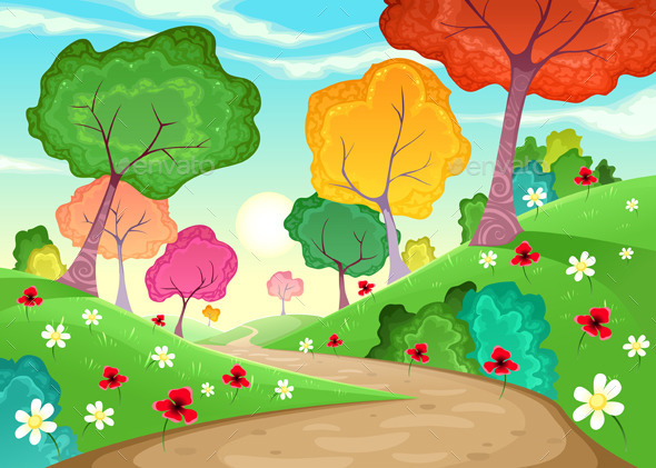 GraphicRiver Landscape with Multi-Colored Trees 9104719