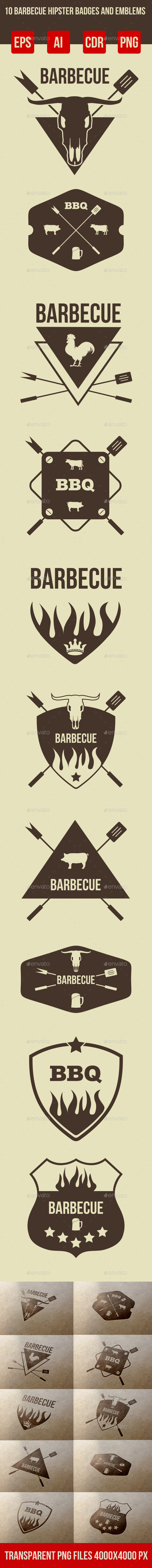 GraphicRiver 10 Barbeque Hipster Vector Emblems Vol.3 9095591