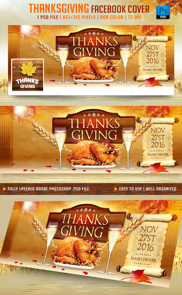 GraphicRiver Thanksgiving Facebook Cover 9105278
