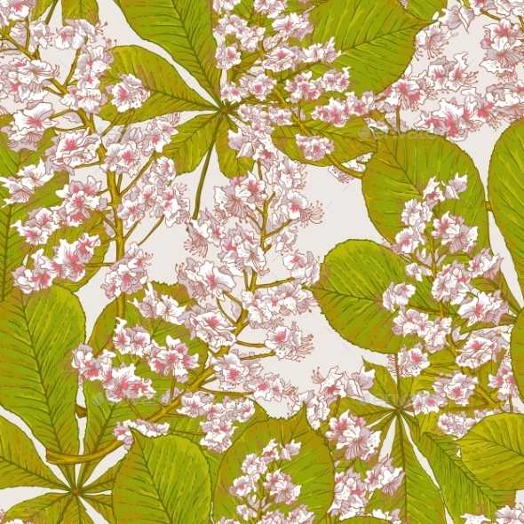 GraphicRiver Blossom Chestnut Seamless Spring Background 9105690