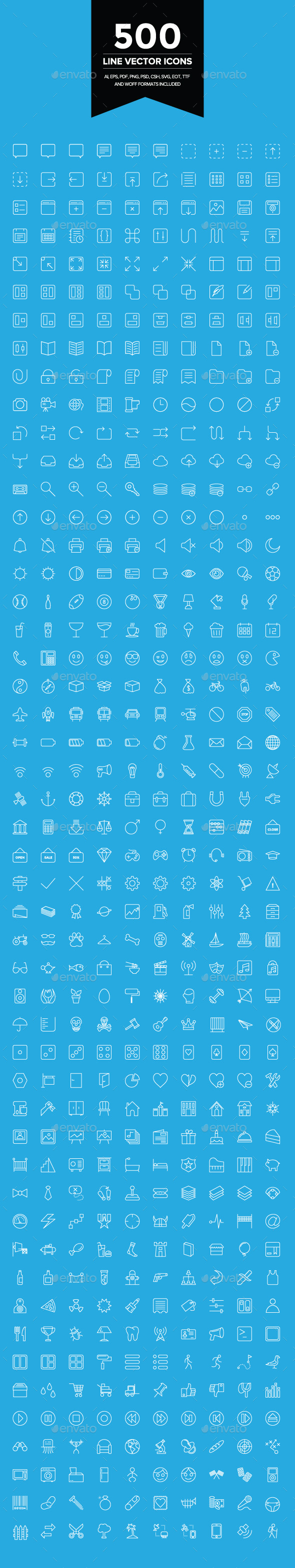 GraphicRiver 500 Line Vector Icons 9106505