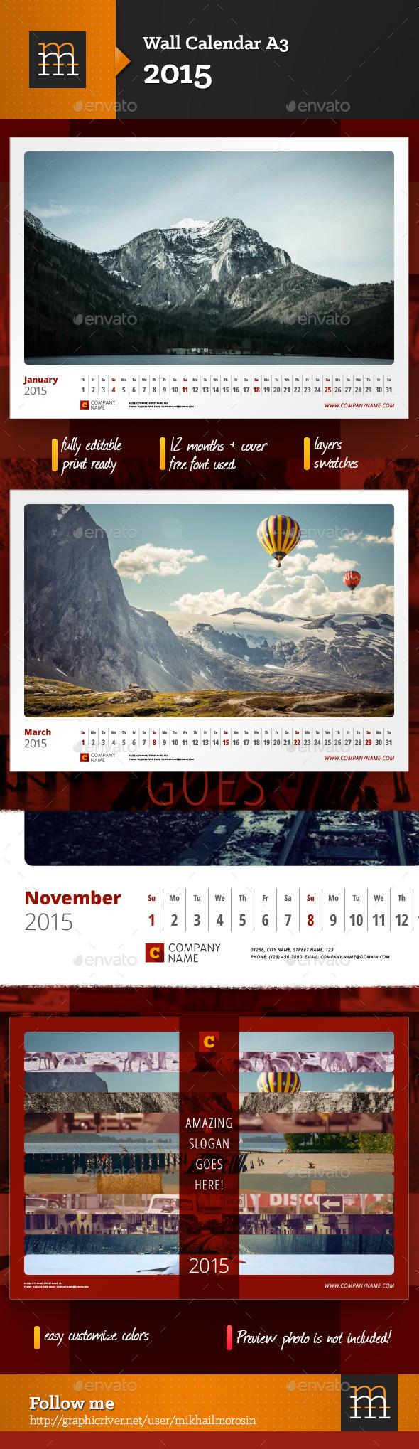 GraphicRiver Wall Calendar 2015 9106707
