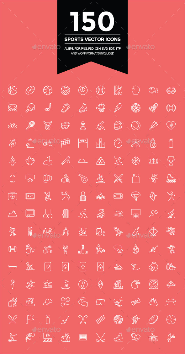 GraphicRiver 150 Sports Vector Icons 9107231