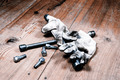 old used wrench with screw and dirty gloves - PhotoDune Item for Sale