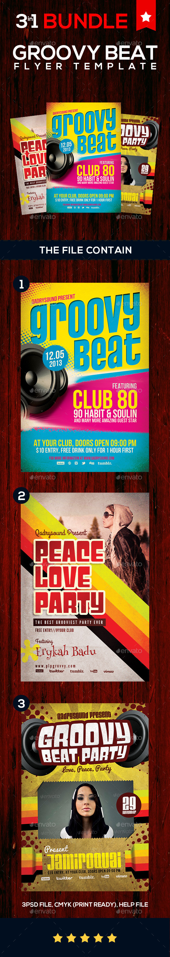 GraphicRiver Groovy Beat Flyer BUNDLE 9107589