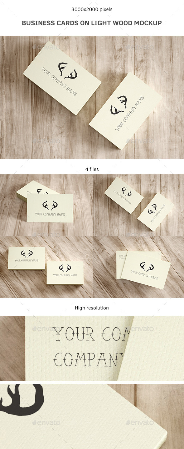 GraphicRiver Business Cards on Light Wood Mockup 9107622