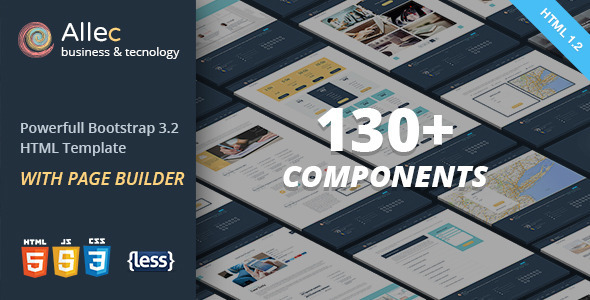 ThemeForest Allec Bootstrap LESS Template with Page Builder 8986248
