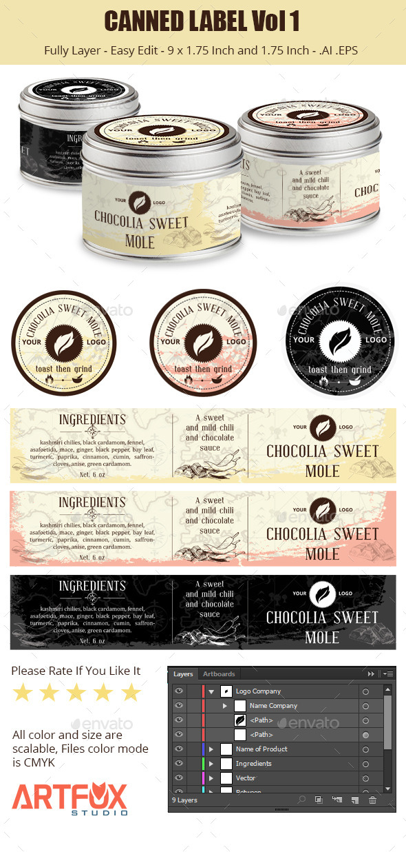 GraphicRiver Canned Label Vol 1 9107782
