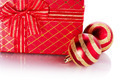 New Year's striped red balls and gift. - PhotoDune Item for Sale