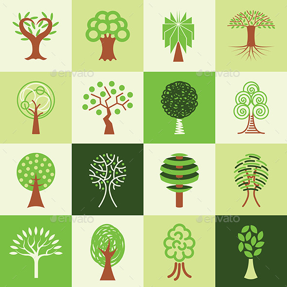 GraphicRiver Tree Icons Set 9109030