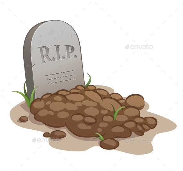 Cartoon Grave with Tombstone