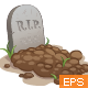 Cartoon Grave with Tombstone - GraphicRiver Item for Sale