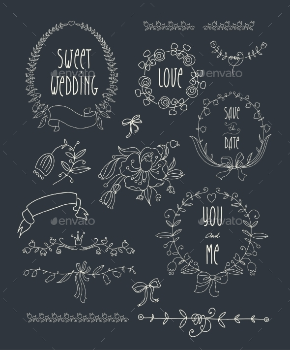 GraphicRiver Hand Drawn Set of Wedding Wreaths and Ribbons 9109395