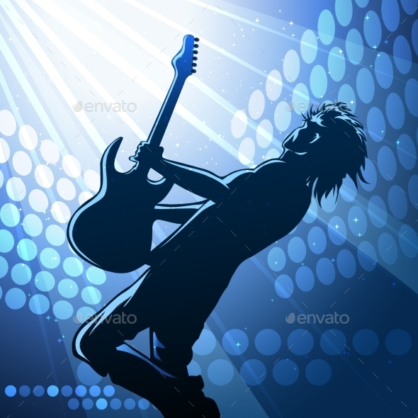 GraphicRiver Rock Guitar Player on Stage 9109767