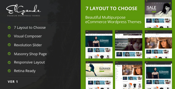 Elgrande - 7 Beautiful Layouts eCommerce Theme - WooCommerce eCommerce