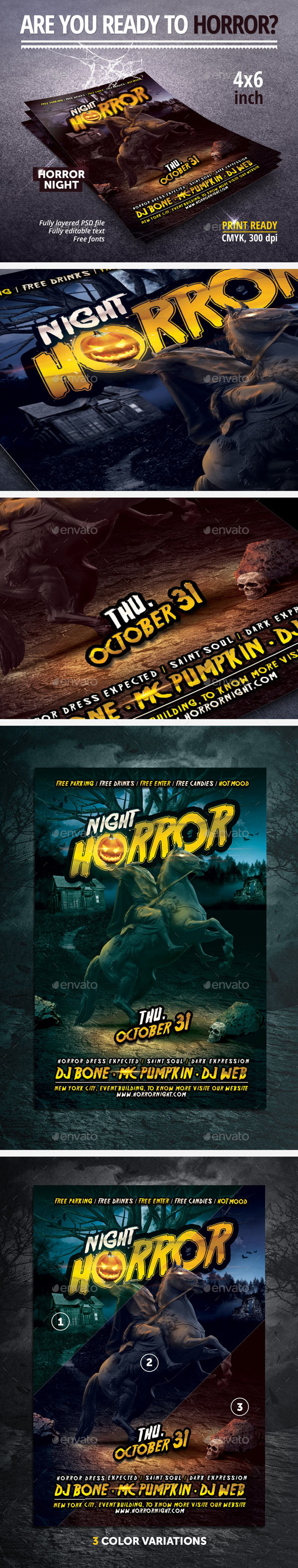 GraphicRiver Horror Night Halloween Party Flyer 9111142