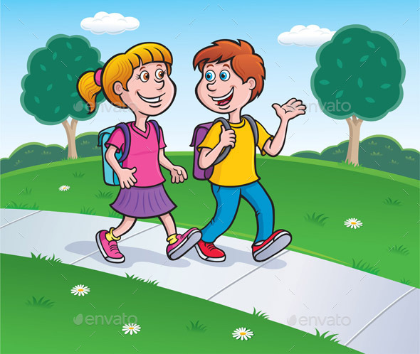 GraphicRiver Girl and Boy Walking to School 9111209
