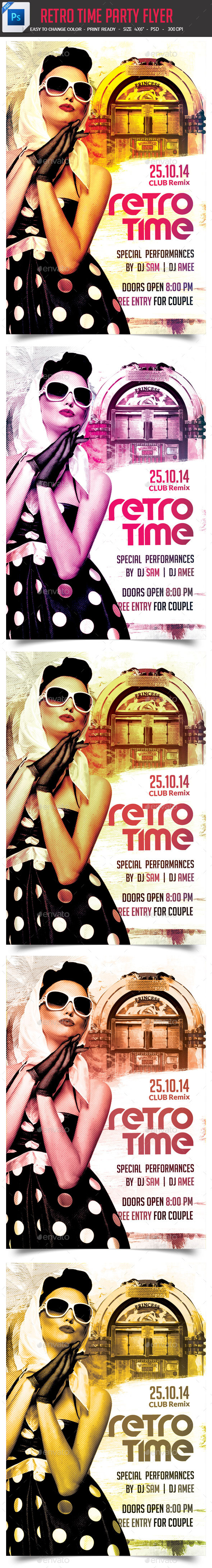 Retro Time Party Flyer