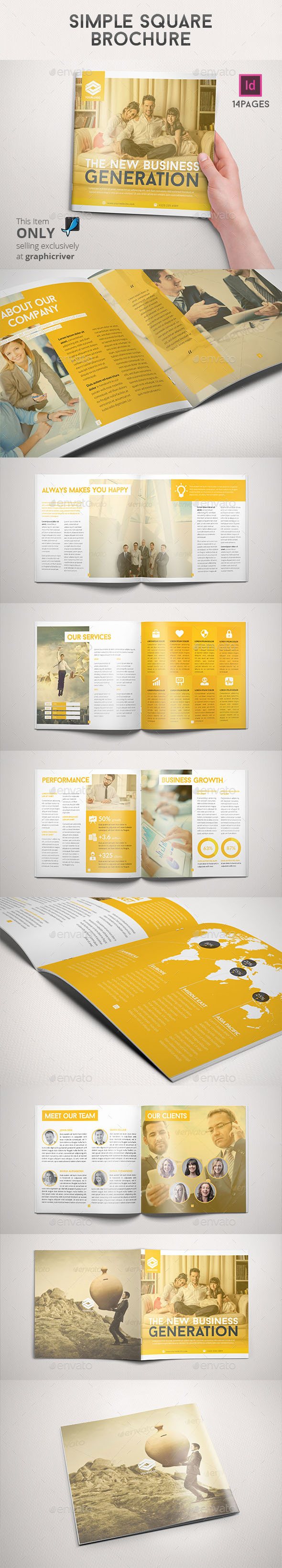 GraphicRiver Simple Square Brochure 9111910