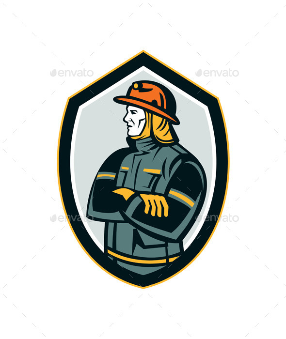 GraphicRiver Fireman Firefighter Arms Folded Shield Retro 9112017
