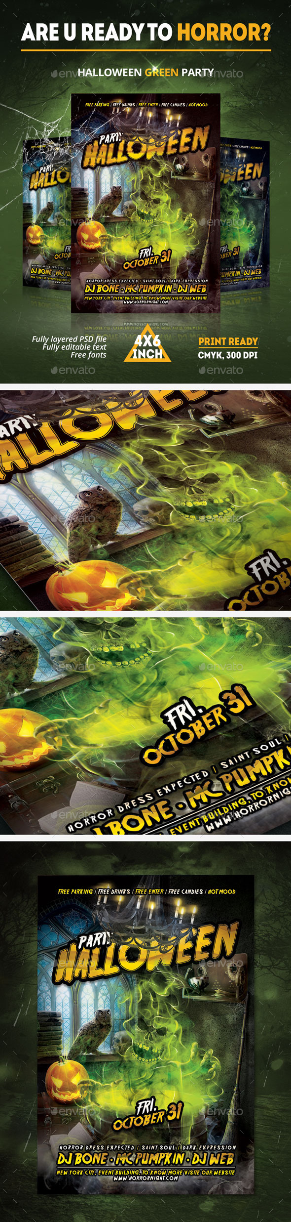 GraphicRiver Halloween Green paty Flyer 9112325