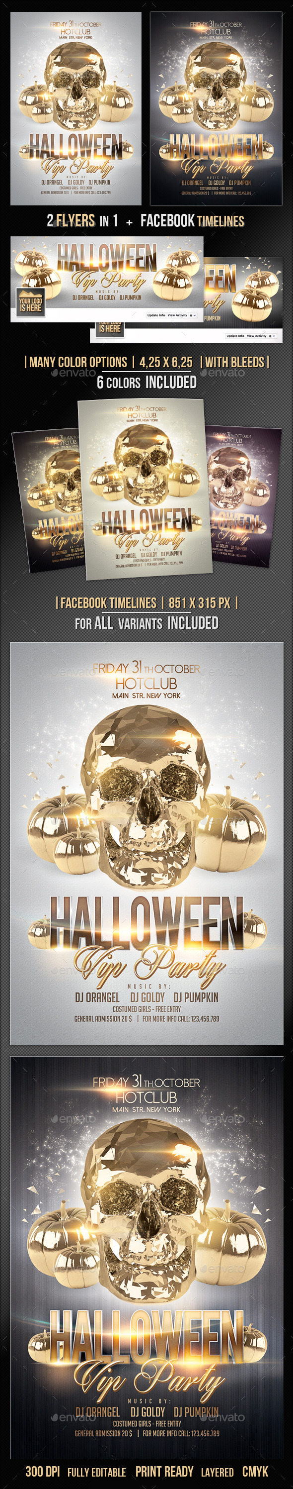 GraphicRiver Halloween Flyer & Fb Timeline Vip Party 9114413