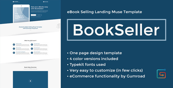 BookSeller - eBook Selling Landing Muse Template Download