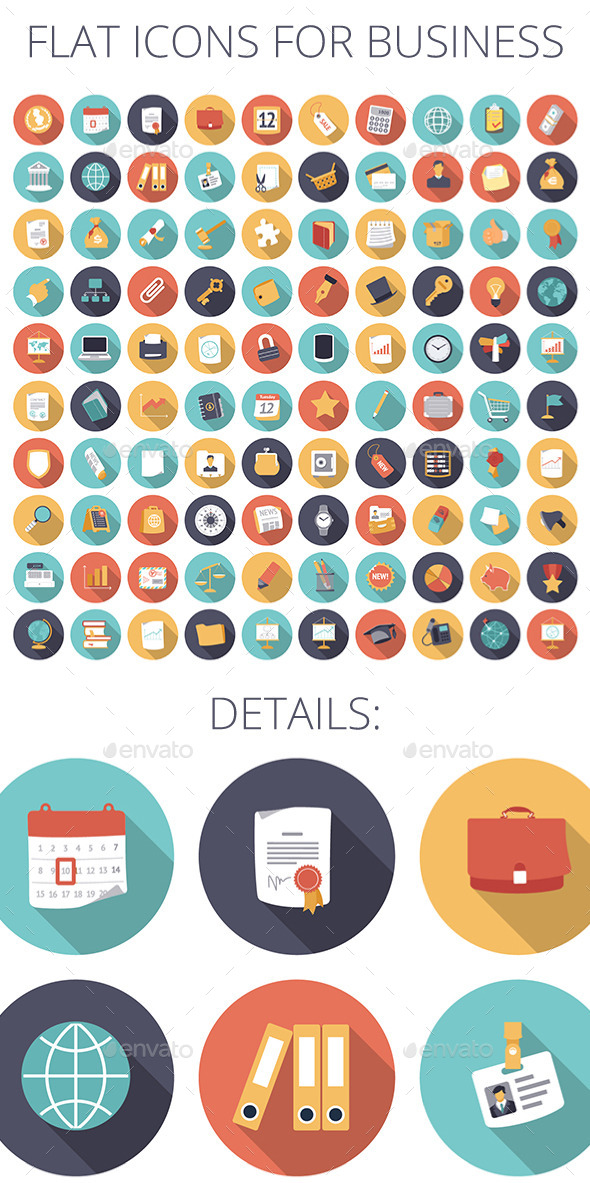 GraphicRiver Flat Design Icons for Business and Finance 9114572