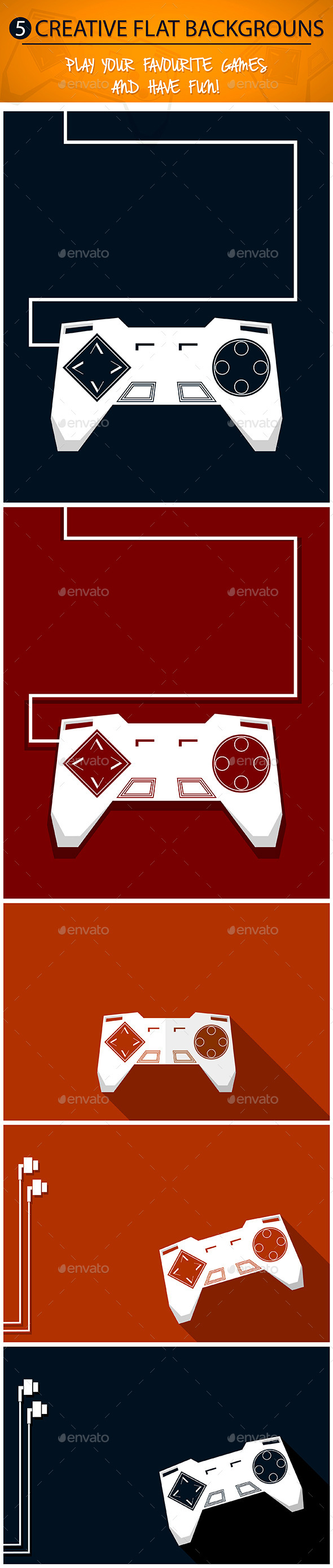 GraphicRiver Gamepad Backgrounds Set 9115147