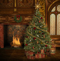 Christmas Tree In An Old Mansion - PhotoDune Item for Sale