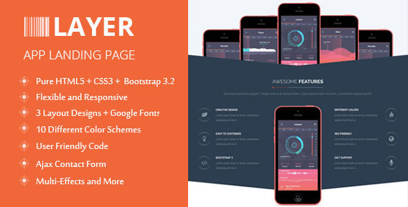 ThemeForest Layer Responsive App Landing Page 9115418