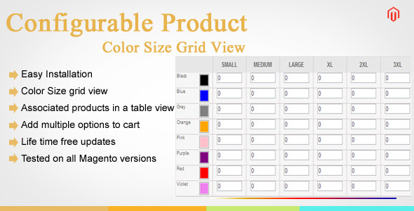 CodeCanyon Magento Configurable Product Color Size Grid View 9115520