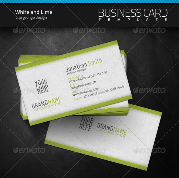 White and Lime Business Card - Corporate Business Cards