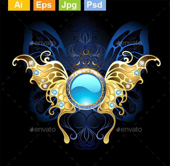GraphicRiver Banner with Gold Wings of a Butterfly 9116147