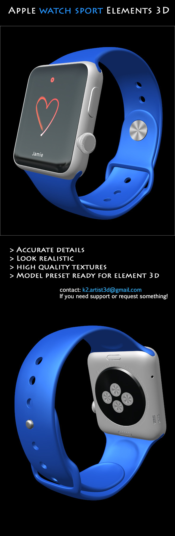 Element3D - Apple Watch Sport - 3DOcean Item for Sale