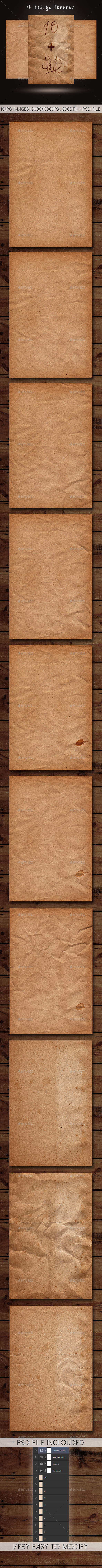 10 Old Paper Textures & PSD File