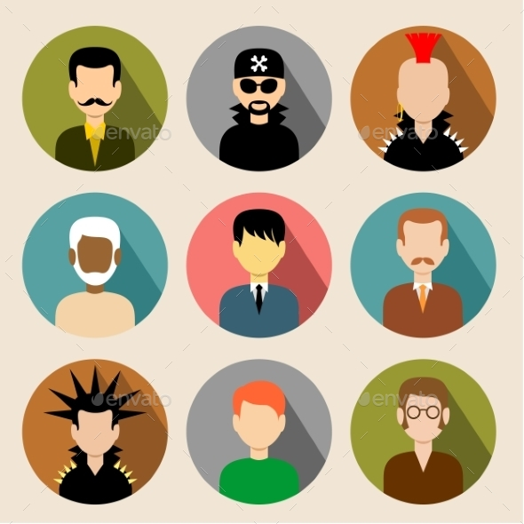 GraphicRiver Set of Circle Flat Icons with Men 9117275