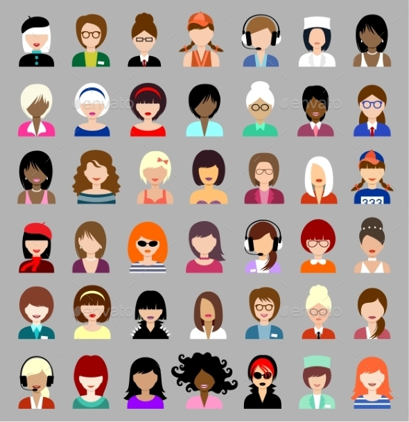 GraphicRiver Set of Circle Flat Icons with Women 9117324