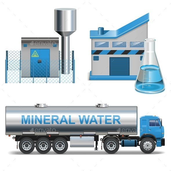GraphicRiver Vector Mineral Waters Production 9117356