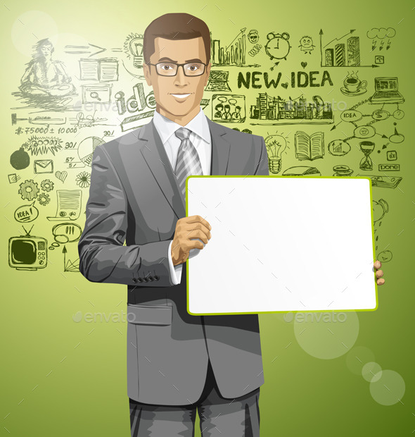 GraphicRiver Vector Business Man with Empty Write Board 9117500
