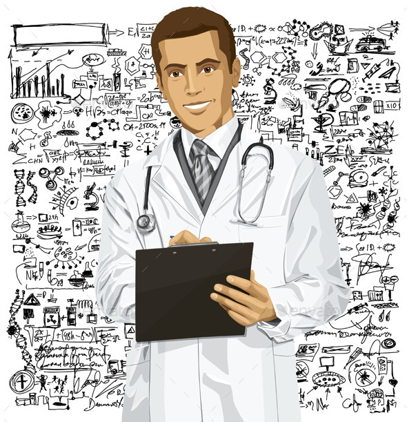 GraphicRiver Vector Doctor Man With Clipboard 9117506