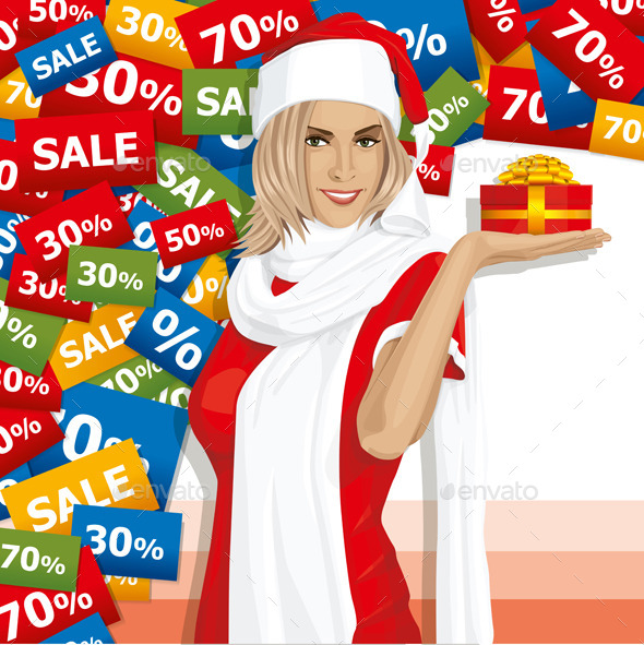 GraphicRiver Vector Woman Waiting For Christmas 9117521