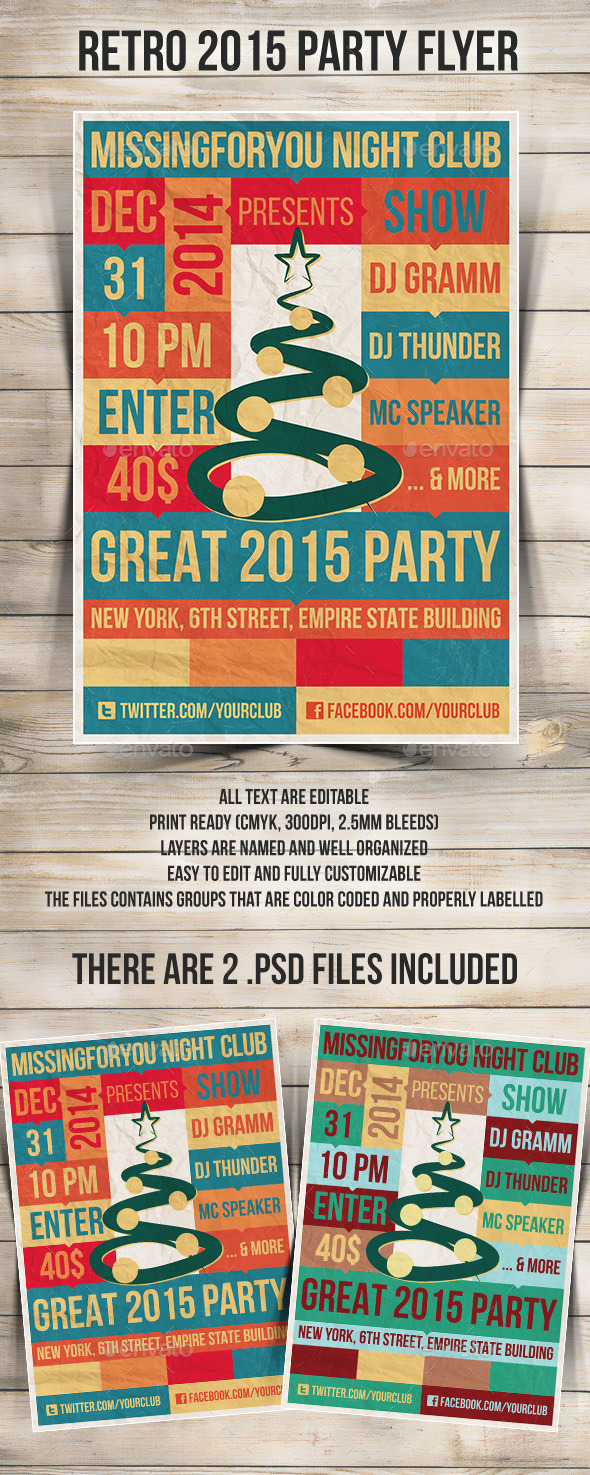 GraphicRiver New Year 2015 retro Party Flyer 9100605