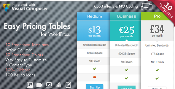 Easy Pricing Tables WordPress Plugin - CodeCanyon Item for Sale