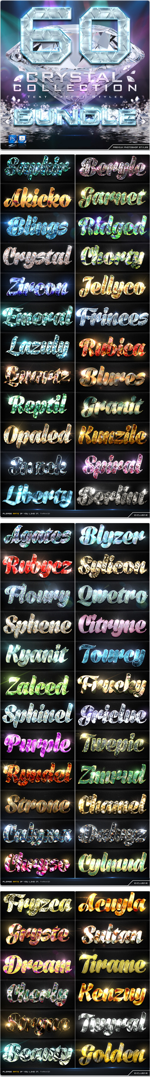 GraphicRiver 60 Crytal Collection Text Effect Styles Bundle 9117576