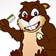 Beaver Cartoon Character with a Toothbrush - GraphicRiver Item for Sale