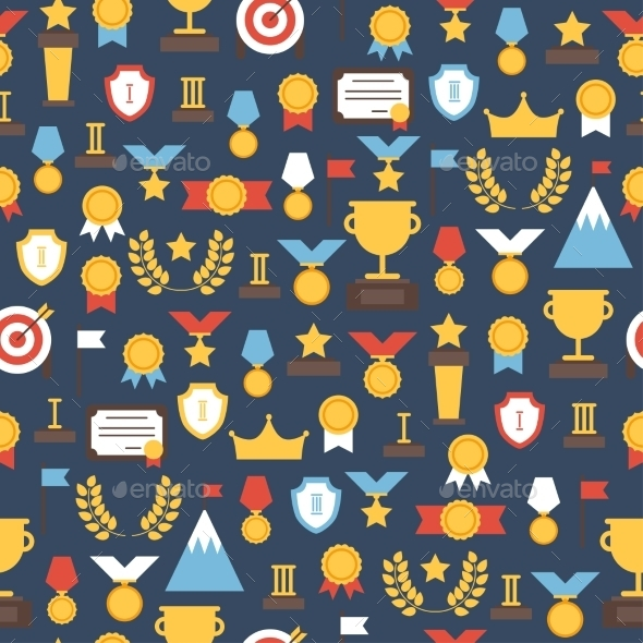 GraphicRiver Seamless Pattern of Award Icons 9117744