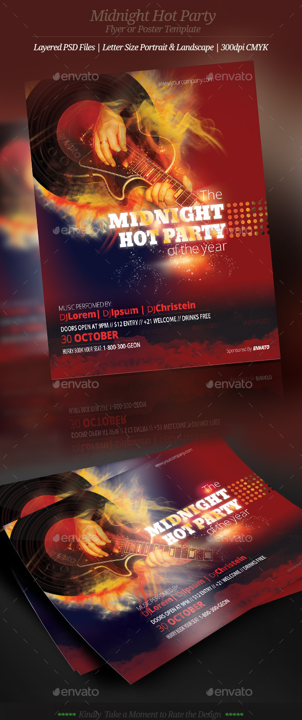 GraphicRiver Music Midnight Hot Party Flyer or Poster 9093217